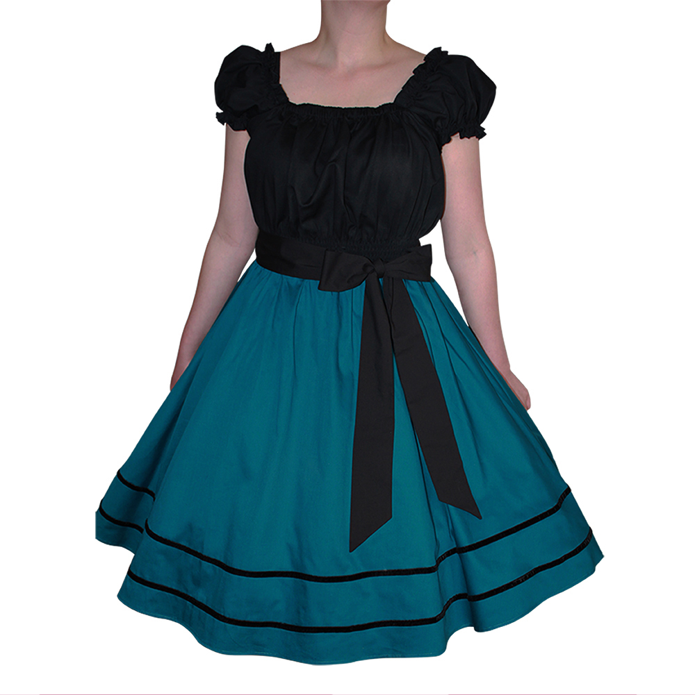 50s Vintage Style Teal Swing Dress, Plus Size Rockabilly, Retro, Pinup,  Circle Skirt With Velvet Trim Sizes 14-28